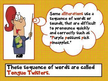 Alliteration Action Interactive PPT Third Grade Up