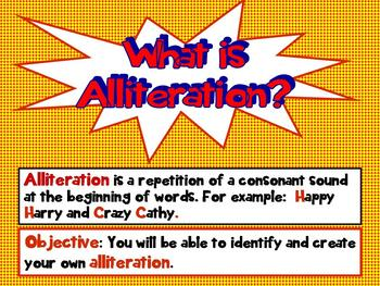 Common Core Alliteration Action Interactive PPT Revised CCSS Grades 3 and 4
