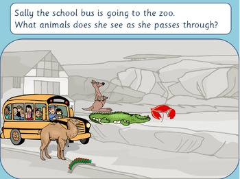 Alliteration: Phonic game Sally the School bus goes to the zoo