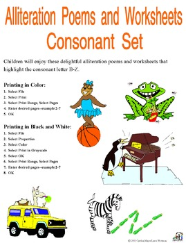 Alliteration Poems and Worksheets Consonant Bundle ...