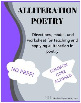 Alliteration Poetry Worksheet - No Prep, Common Core Aligned