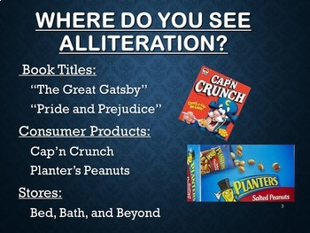 Alliteration PowerPoint  - Figurative Language - Sound Devices