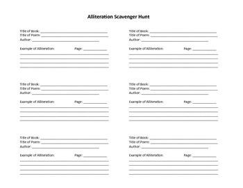 Alliteration Scavenger Hunt