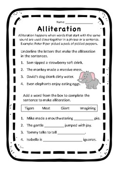 Alliteration Worksheet by Acing Primary | Teachers Pay Teachers
