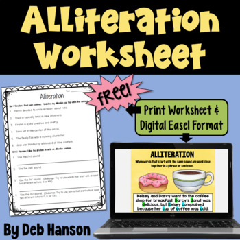 Alliteration Worksheet FREEBIE by Deb Hanson  Teachers Pay Teachers