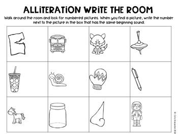 Alliteration Write the Room Center - 3 Activities in one!