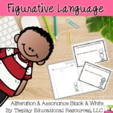 Alliteration and Assonance Figurative Language Activity black and white No Prep