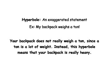 Alliteration and Hyperbole Packet and Lesson