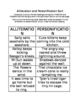 Alliteration and Personification Sort