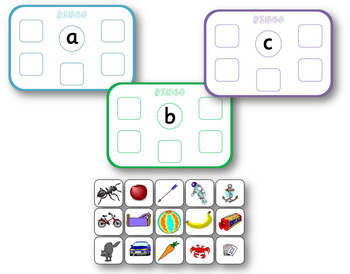 Alliteration bingo; pre-reading initial sound game for Kindergarten
