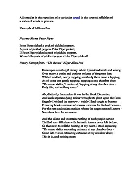 Alliteration in Poetry Worksheet by Pamela Casna | TpT