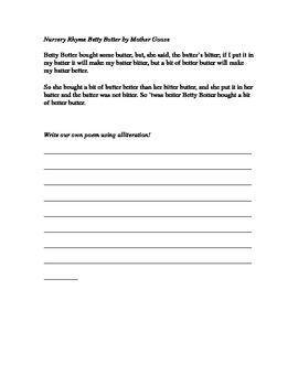 Alliteration in Poetry Worksheet