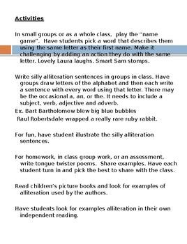 Alliteration lesson bundle