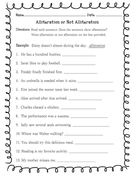 Alliteration or Not Alliteration Worksheet by Learning is Lots of Fun