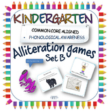 Alliteration phonic games for Kindergarten; tuning into di