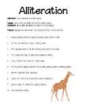 Alliteration worksheet