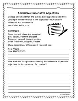 Alliterative Superlative Adjectives - Fun With Parts of Speech and Poetry