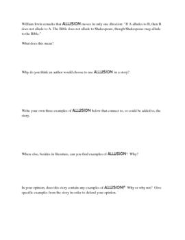 Allusion: A Worksheet to go with just about ANY book!!!