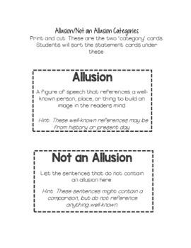 Allusion Sort Worksheets And Poster Center Or Readers Workshop