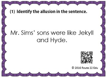 Allusion Task Cards for Middle School