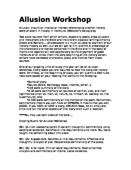 Allusion Workshop for High School English or Humanities classes