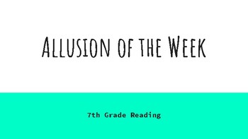 Allusion of the Week