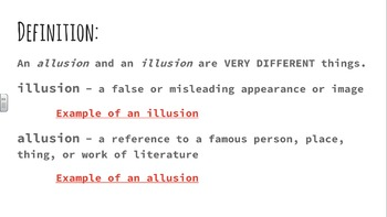 Allusions PowerPoint Lesson; Smartboard / Whiteboard Lesson; 17 Pages/Slides
