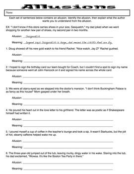 Allusions Practice Worksheet