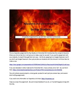 Allusions in Fahrenheit 451 Hyperdoc assignment