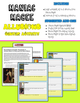 Allusions in Maniac Magee Center Activity (Common Core Aligned)