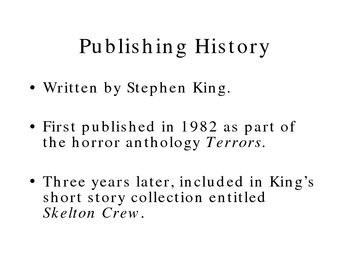 Allusions in the Fiction of Stephen King