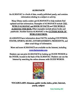 Almanacs: A Review/Scanvenger Hunt (Utilizing print and Internet)