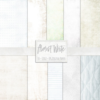 Almost White Digital Papers, Lightly Textured Neutral Backgrounds, Cream, Beige