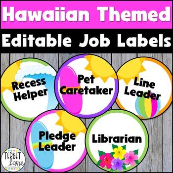 Hawaiian Themed Classroom Job Signs