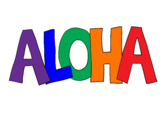 Aloha Clip Art with Block Letters