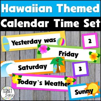 Hawaiian Themed Days of the Week Classroom Signs