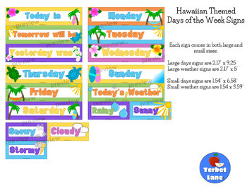 Hawaiian Themed Days of the Week Classroom Signs