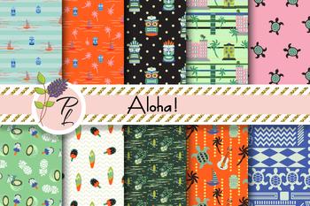 Aloha! Patterns Seamless Pattern Set. Digital paper pack.