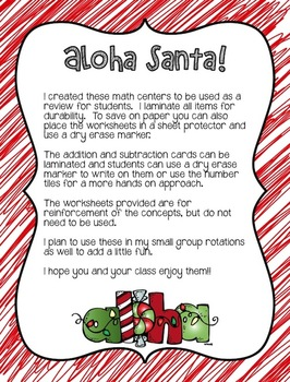 Aloha Santa! Math Centers for Second Grade