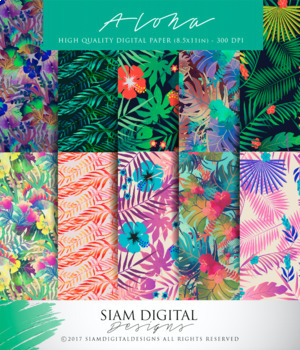 Aloha Themed Digital Paper to Add Some Color to Posters, Worksheets, and More!