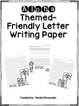 Aloha Themed Friendly Letter Writing Template