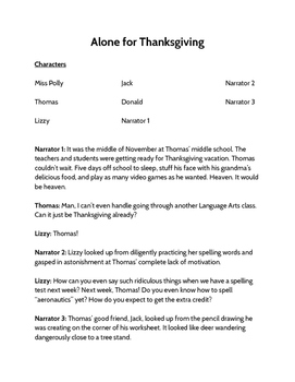 Alone for Thanksgiving Reader's Theater