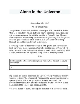 Alone in the Universe 6th Grade Text and Questions
