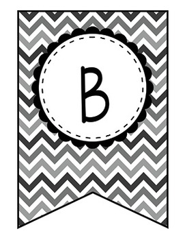 Alphabet Bunting - Black and White Chevron