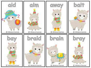 """Alpaca Vowel Teams Card Game (Long """"a"""") (Distance Learning)"""