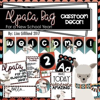 Alpaca and Cactus Classroom Decor (Alpaca Bag For a New School Year)! EDITABLE