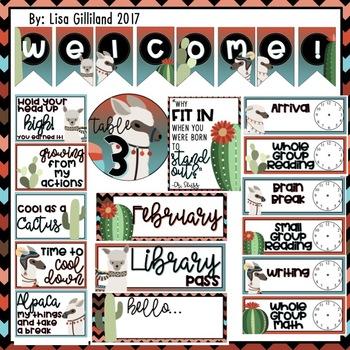 Alpaca Llama and Cactus Decor (Alpaca Bag For a New School Year)! EDITABLE