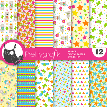 Alpaca papers, commercial use, scrapbook papers - PS865