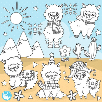 Alpaca stamps,  commercial use, vector graphics, images  - DS1088