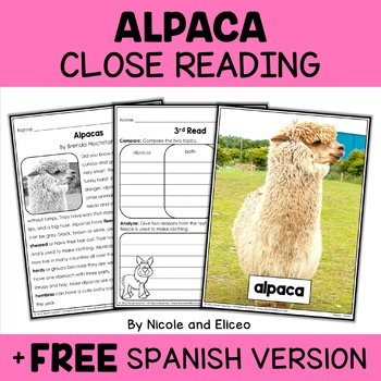 Close Reading Passage - Alpaca Activities